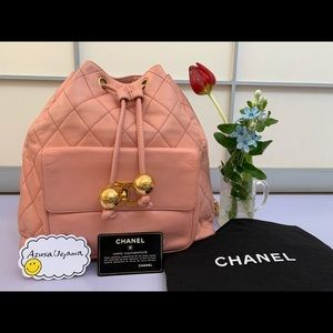 Rare authentic vintage drawstring Chanel backpack